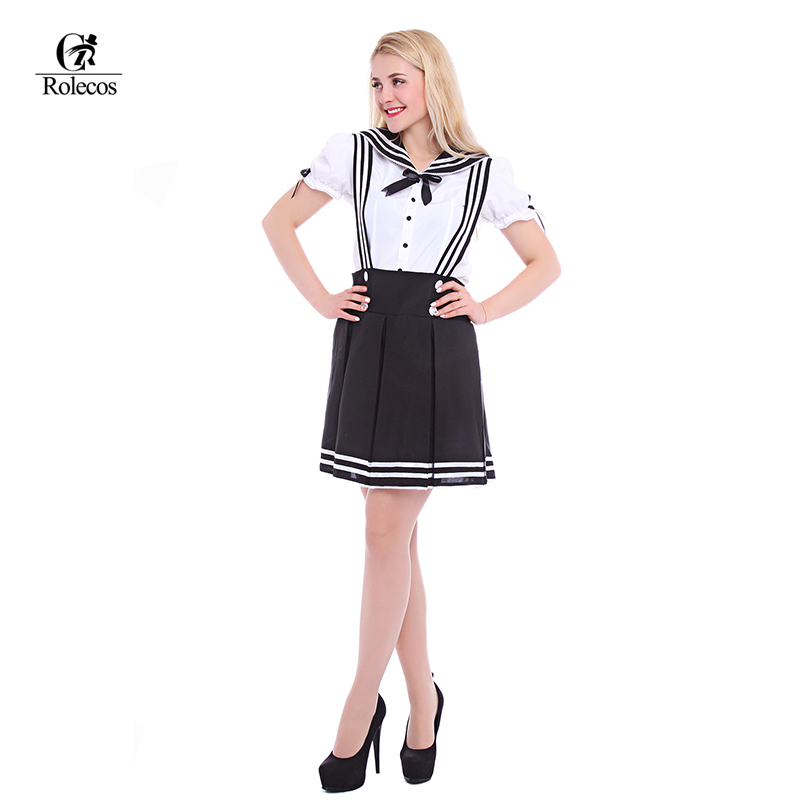 Rolecos Lolita Dress Sweet Girl Maid Cosplay Custome Japanese School Uniform Sailor Costume Halloween Costumes for Women