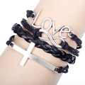 Woven Leather Rope Bracelet Combined Multi-layer Cross Bracelet