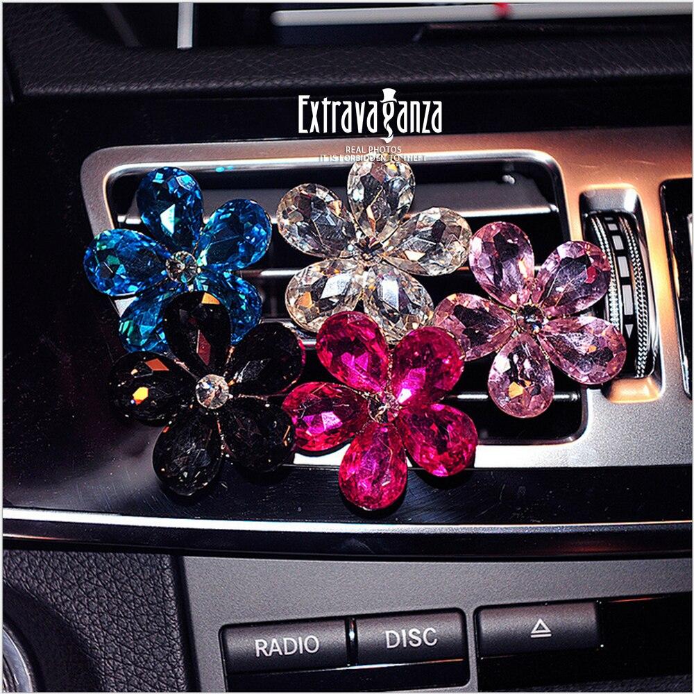 ANZULWANG Crystal flower decoration diamond car outlet outles