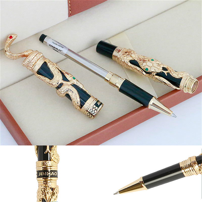High Quality JINHAO Snake Metal Ballpoint Pen Luxury 0.5MM Nib Roller Ball Pen Gold Business Office Supplies Stationery canetas high quality monte mount business pen luxury school office stationery roller pen promotional metal roller ball pen refill