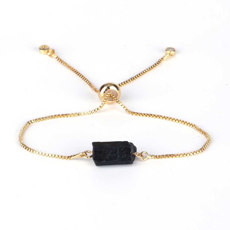 Natutal Raw Rough Black Tourmaline Beads 6mm Round Hematite Yellow Tiger Eye Adjustable Healing Stone Link Bracelets for Women