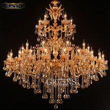лучшая цена Large Royal Golden Crystal Chandelier Lamp Lustres Cristal Suspension  Project Lighting Hotel Resteruant Villa Luminaire Lights