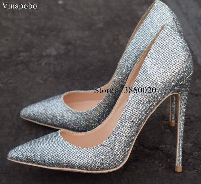 2caa47f71480 2018 New Sexy High Heel Women Shoes Sequins leather High Heels Women Pumps  Pointed Toe 12cm Stiletto Heel Wedding Party shoes