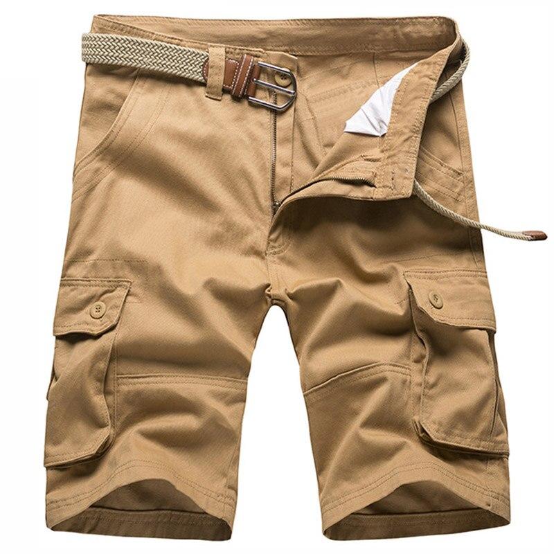 Mens Knee Length Loose Camo Cargo Shorts Men Cotton Denim Casual Short Pants Men Solid Multi-pocket Workout Sweat Board Shorts
