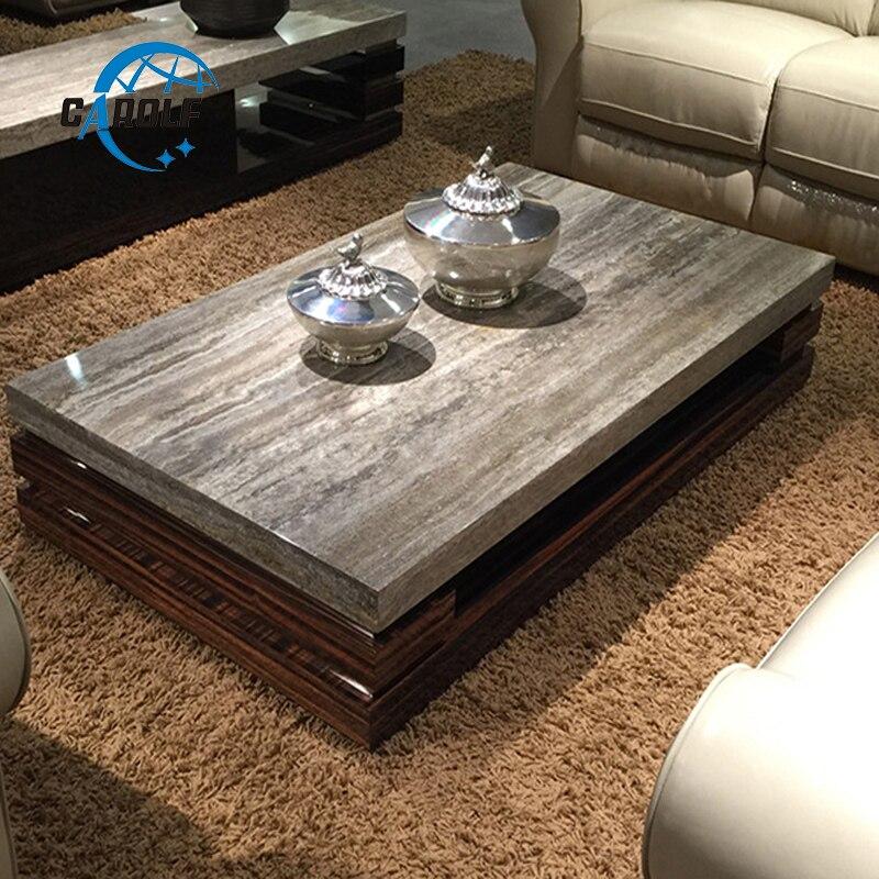Table basse moderne de Table centrale de conception de salon de luxe avec le dessus en marbre, Table d'angle en bois à vendre