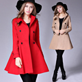 Новый 2017 Женская Мода Красный Шерсть Осень Зима Пальто Дамы С Длинным Рукавом Turn Down Воротник Случайные Шерстяное Пальто Верхняя Одежда