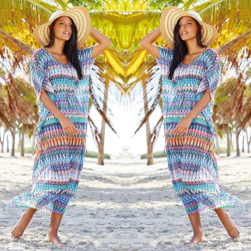 New Women Cover-ups 2018 Hot Summer Chiffon Bikini Cover Up Geometrical Printed Swimwear Bathing Suit Beach Wear Dress Tops