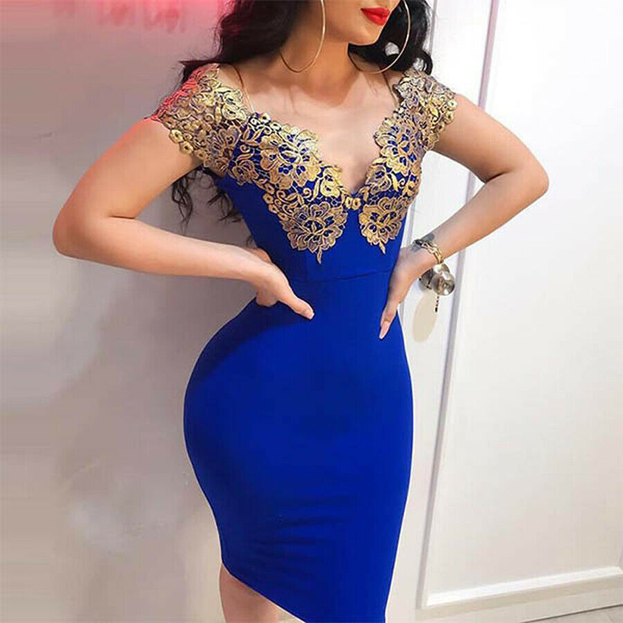 Women Summer <font><b>Sexy</b></font> Bandage <font><b>Bodycon</b></font> Deep V-Neck Sleeveless Mini <font><b>Dresses</b></font> Evening Party Lace <font><b>Blue</b></font> Skinny <font><b>Dress</b></font> image