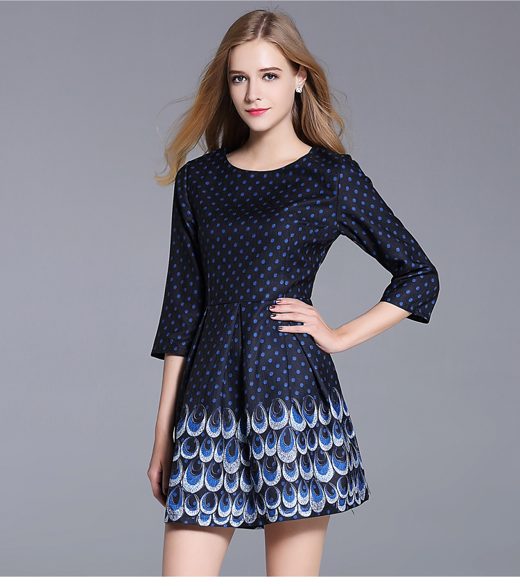 2017 Spring Autumn Women Quality Dress Lanon Clothing Lady Party Outfit High End Fashion Peacock Print Dress A Word Size S XXL