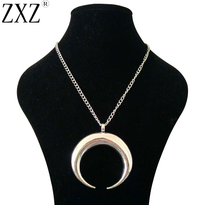 ZXZ Fashion Large Antique Silver Statement Abstract Metal Ho