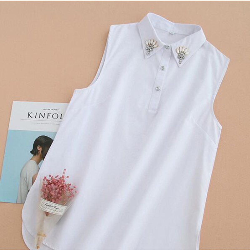 Sweater Pullover Korean Fashion Sleeveless Casual Shirt White Beautiful Women Detachable Collars Fashion Cotton Chiffon Sweater