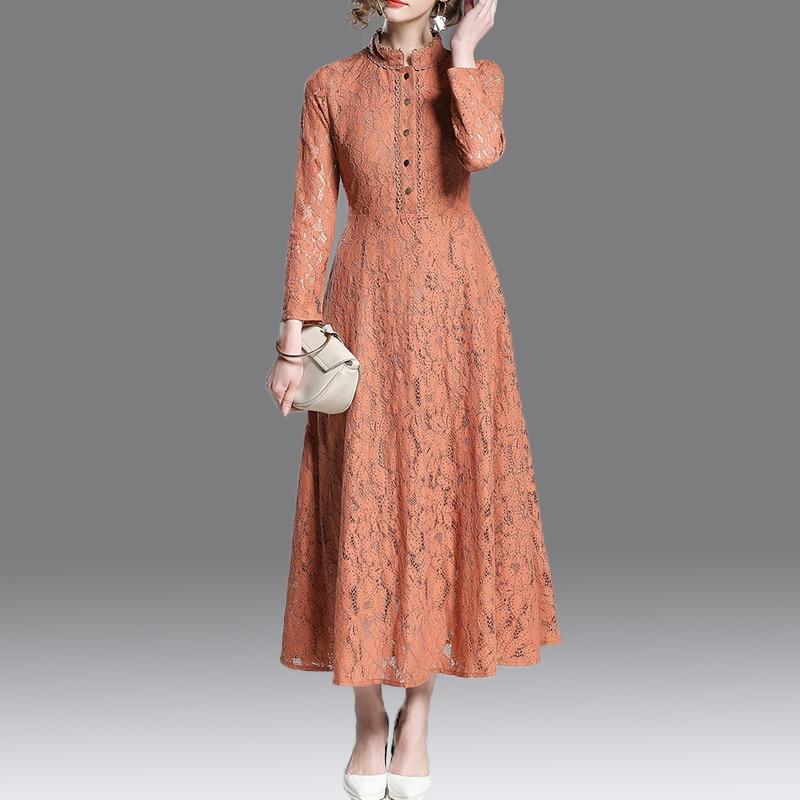 2018 di autunno delle donne Dell'annata abiti a maniche lunghe collare del basamento lungo sottile del vestito Eleganza Caviglia Lunghezza abito di pizzo-in Abiti da Abbigliamento da donna su  Gruppo 1
