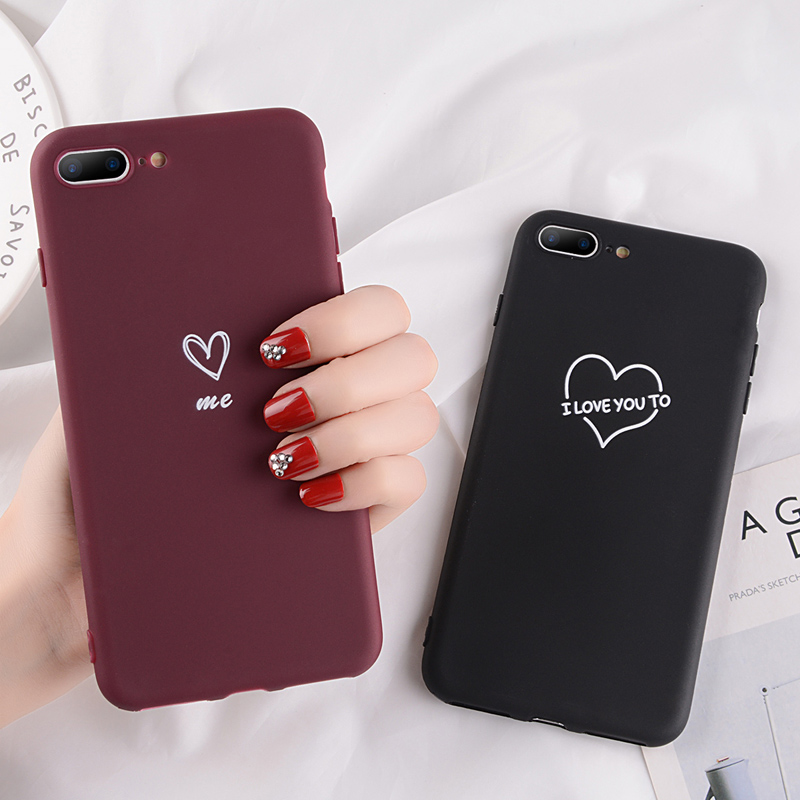 half off 2f01d 2de79 Moskado Wine Red Case For iPhone 6 6S 7 8 Plus X XR XS Max Case Letter Love  Heart Couple Soft TPU For iPhone 5 5S SE Phone Cover