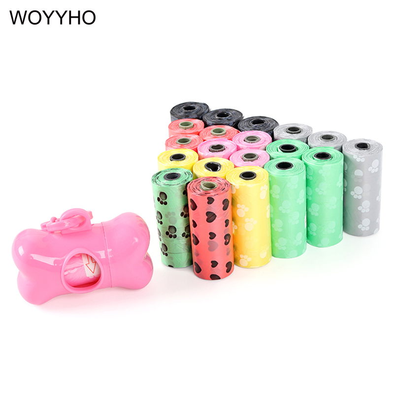 30 Rolls=450pcs Dog Waste Poop Bag Degradable Eco-friendly Outdoor Pet Excrement Garbage Clean Bags With Bone Dispenser