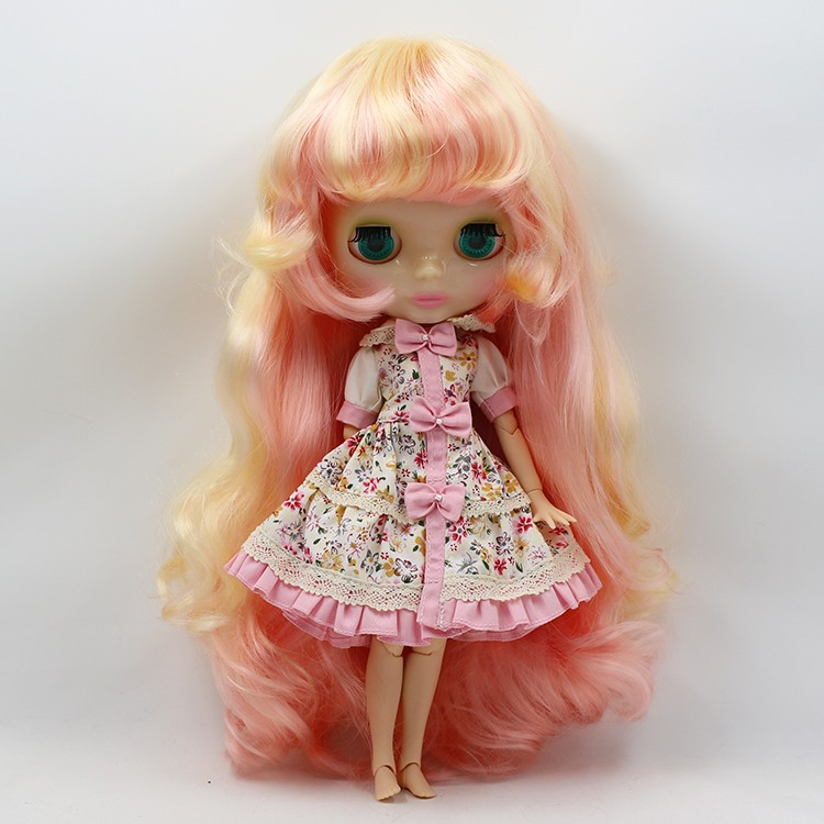 Nude Blyth Doll Yellow mix Pink long hair with joint body doll toys for chidlren Factory Blyth bjd doll toys for sale 12 blyth nude doll k 180 black hair bjd blyth doll for sale