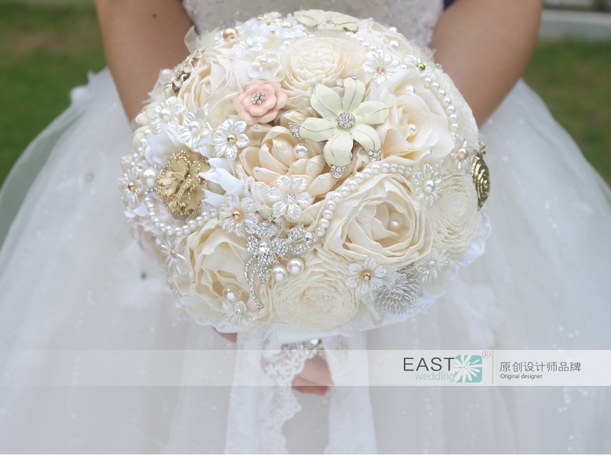 Diy Ivory Brooch Bouquet Plants Flower Bride Bridal Wedding Bridesmaid Creative Dried Flowers Customizable Bouquets In From