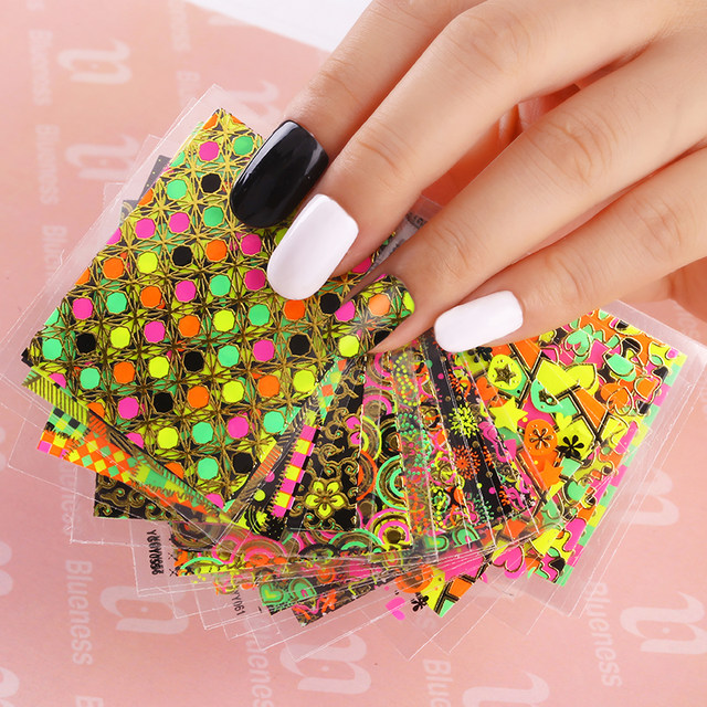 Online Shop 24 Designs Of Nail Stickers Colorful Beauty Glitter 3d