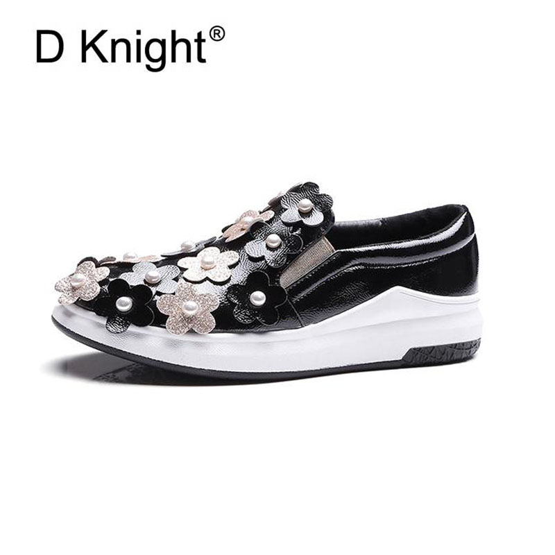 Flowers Creepers Flats Shoes Woman Round Toe Loafers Comfort Slip On Casual Platform Women Shoes Shallow Glitter Pearl Shoes 43 phyanic crystal shoes woman 2017 bling gladiator sandals casual creepers slip on flats beach platform women shoes phy4041