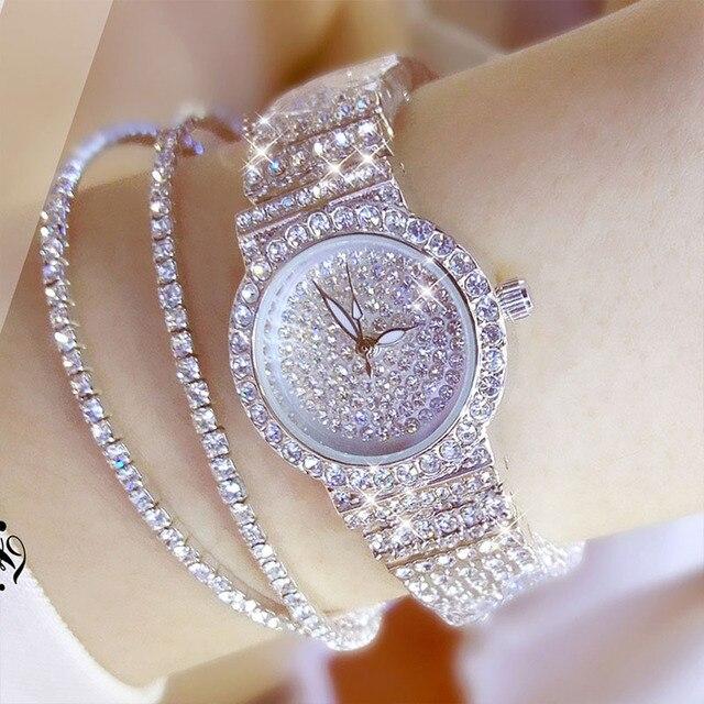 9bcf008bd BS النحل الأخت الساعات الفاخرة الكوارتز السيدات أزياء ساعات المعصم حجم صغير  الماس الفولاذ المقاوم للصدأ