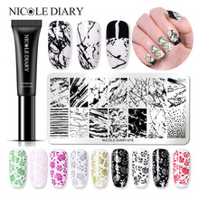 NICOLE DIÁRIO 8 ml Laca Soak Off Verniz Gel Unha Polonês Stamping Gel Colorido Stamping Gel UV para a Arte Do Prego carimbar a Placa(China)