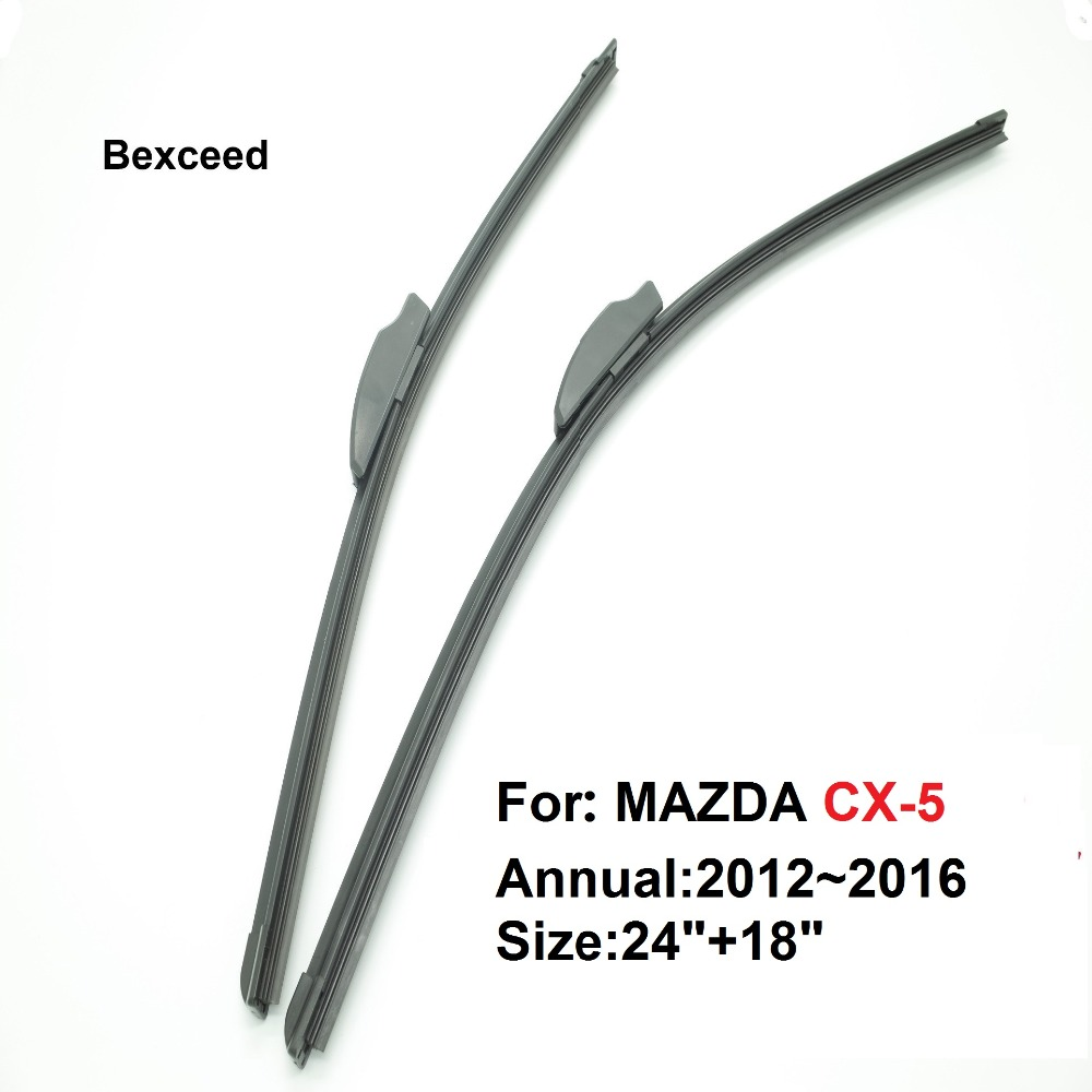 1 Pair 24 18 High Quality Bexceed of Car Windshield Flat rubber Wiper Blade For MAZDA