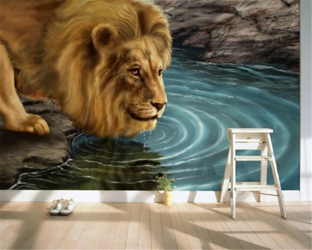 Beibehang Kustom Harimau Binatang 3D Hewan Wallpaper Mural Pribadi