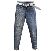 2019 summer new fashion letters hole jeans women feet ankle length diamond stretch skinny pencil jeans