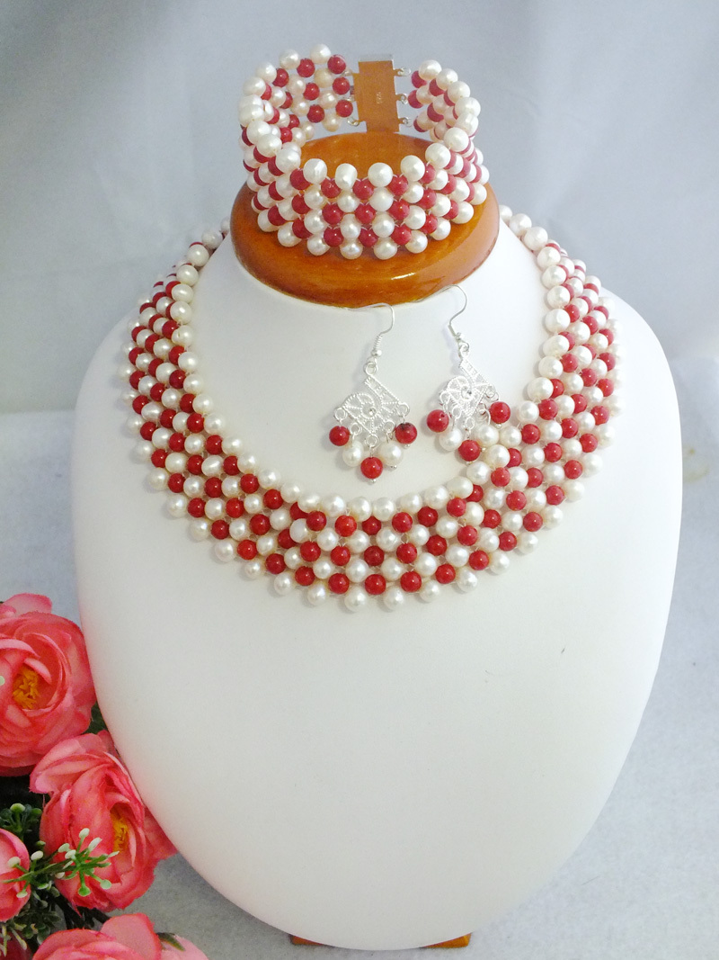Free Shipping !!!A-3507 Beauty 2017 New Design Coral Beads Necklace Set Jewelry
