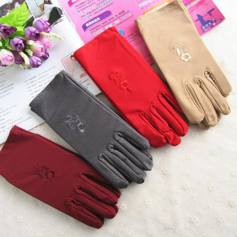Hot Sale New Style Evening Party Formal Prom Stretch Satin Gloves Fashion Warm Winter Gloves Beautiful Women  Embroidered