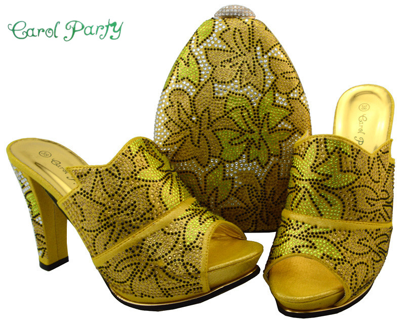 Фото Latest Yellow Color Shoes and Bag Set African Sets Decorated with Rhinestone Nigerian Shoes and Bag Set for Women Party  BCH-32
