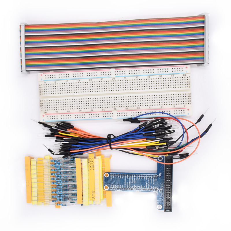 830 Tie-points Breadboard + 65pcs Jumper Wire+ GPIO T Type Expansion Board + 40pin Rainbow Cable+100 Pcs Resistance For PI3