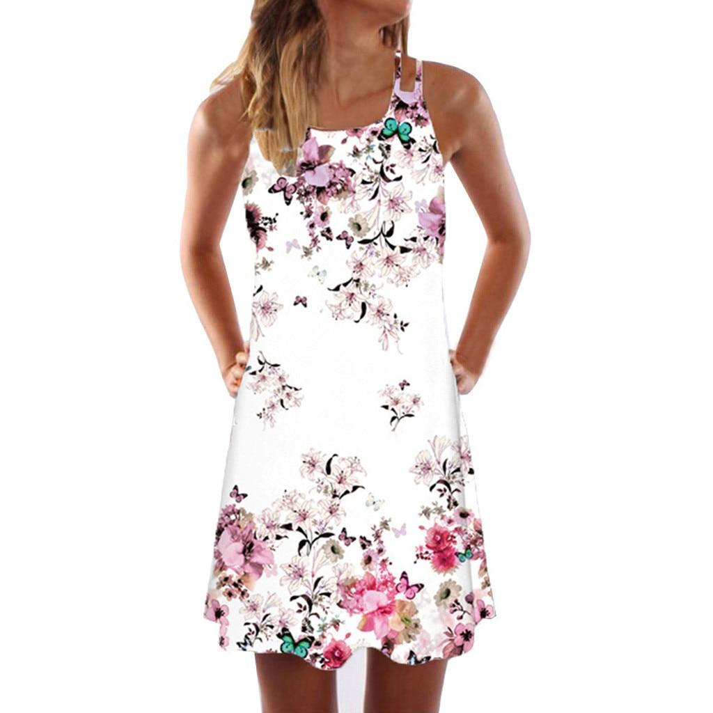 Women Summer Dress Boho Style Floral Print Beach Dress Tunic Sundress Loose Sexy Party Short