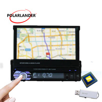 7 Touch Screen overseas warehouse remote control Stereo Bluetooth free shipping 1DIN USB/AUX/SD GPS Head Unit Car Radio