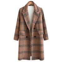 2019 высокое качество шерстяное пальто с рисунком в клетку Женская мода длинное пальто