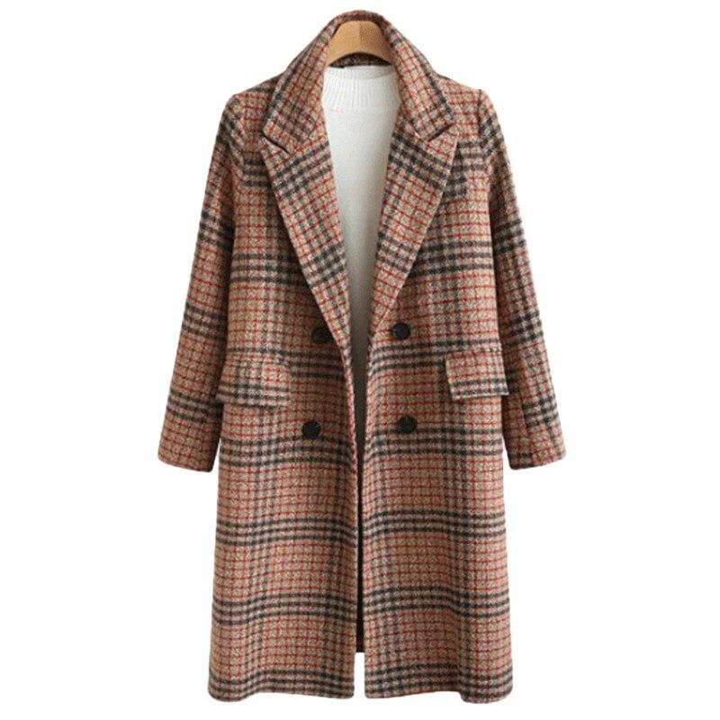 2019 de Haute qualité plaid de laine manteau femmes de mode long manteau