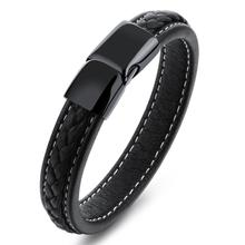 Granny Chic Charm Black Leather Bracelet for Men Jewelry Stainless Steel Chain Braid Rope Wristband 12mm 21cm