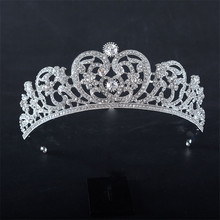 Snuoy Vintage Apple Shape Cubic Zircon Taria Silver Coroa de Princesa Queen Crown Medieval Accessories Women Jewelry HG817