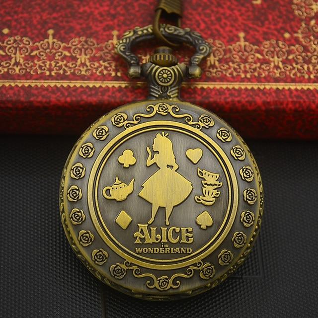 Wholesale Fashion Quartz Pocket Watch Necklace Woman Alice In Wonderland Rabbit