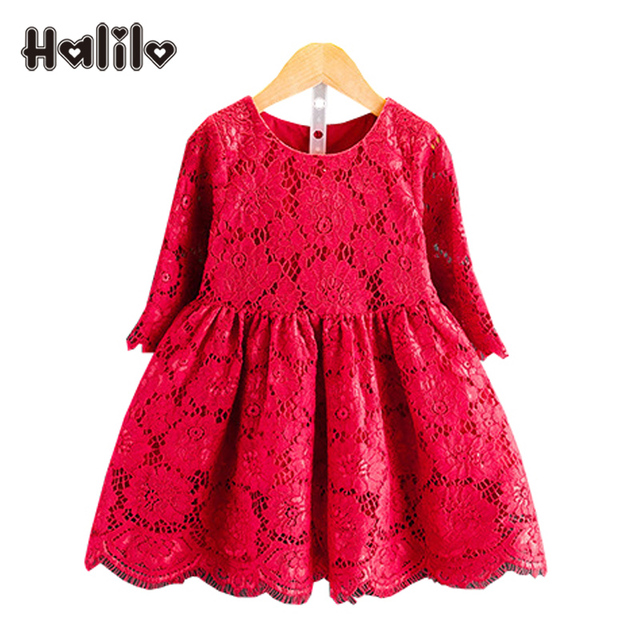 517aa32b7ec8 Halilo Girl Lace Dress Kids Clothes Girls Autumn Dress Red Long ...