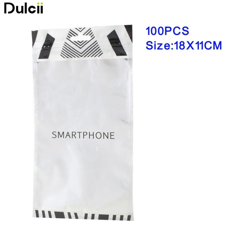 100Pcs/Lot DULCII Ziplock Bag Retail Packaging Bags for Apple iPhone X Samsung S8 Package Bag Phone Cases, Inner Size: 18 x 11cm