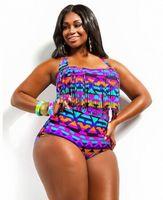 Plus Size L 4XL Print Fringe High Waist Bikini Tassels Bathing Suit Plus Size Fringe Swimwear