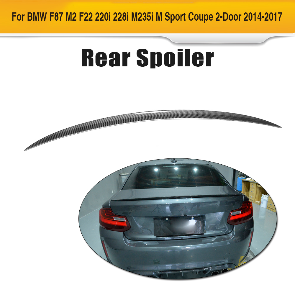 V Style Carbon Fiber Rear Boot Lid Wing Spoiler for BMW F22 F87 M2 Coupe 14-17 220i 228i M235i M Sport Line Car Styling 2 series carbon fiber car front bumper lip spoiler for bmw f22 m sport coupe only 14 17 convertible 220i 230i 235i 228i p style