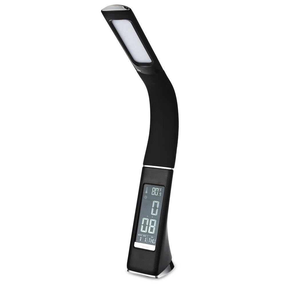 все цены на 5W 200LM 3 Level Dimmable LED Table Lamp Electronic VA Screen Touch Sensitive Desk Light with Calendar Temperature Alarm Clock онлайн