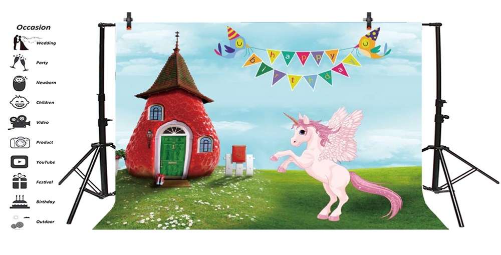 Laeacco Cartoon House Grassland Unicorn Party Baby Photography Backgrounds Customized Photographic Backdrops For Photo Studio in Background from Consumer Electronics