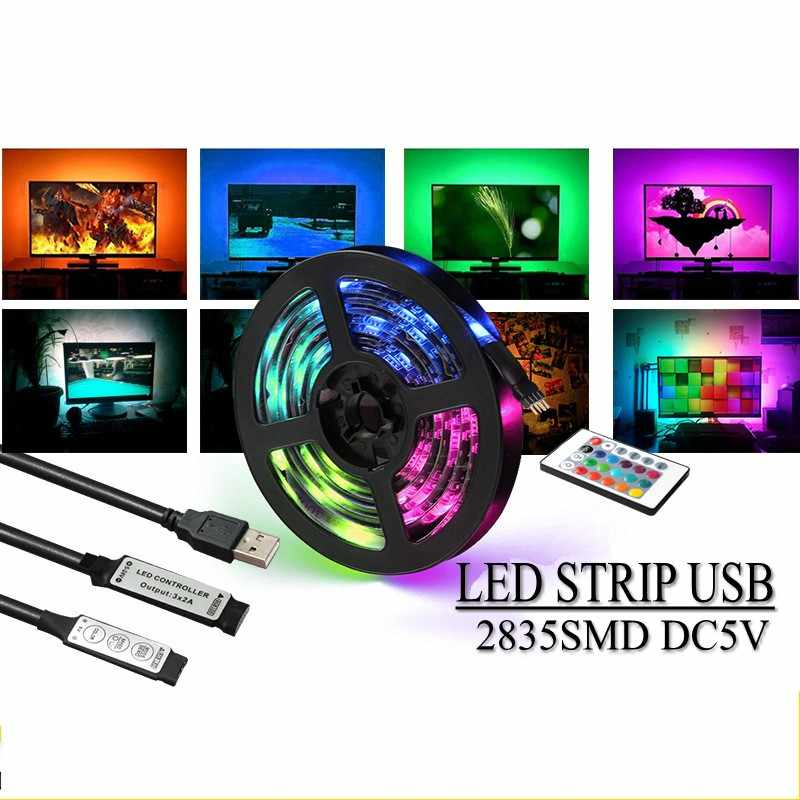 USB Mini 3key LED Strip DC 5 V Fleksibel Lampu 60 LED 50 CM 1 M 2 M 3 M 4 M 5 M SMD 2835 Desktop Dekorasi TV Layar Pencahayaan Latar Belakang