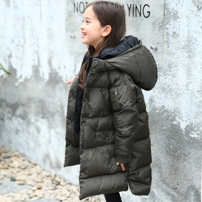 2017 Kids Winter Down Jacket White Duck Down Big Coat for Girs Black Oliva Grey Clothes for Children Age56789 10 11 12 Years old 2017 winter coat grandma installed in the elderly women 60 70 80 years old down jacket old lady tang suit