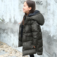 2017 Kids Winter Down Jacket White Duck Down Big Coat for Girs Black Oliva Grey Clothes for Children Age56789 10 11 12 Years old