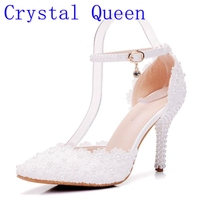 Crystal Queen White Lace Flower Rhinestone Shoes Bride S Shoes Butterfly Point High Heeled Wedding Shoes