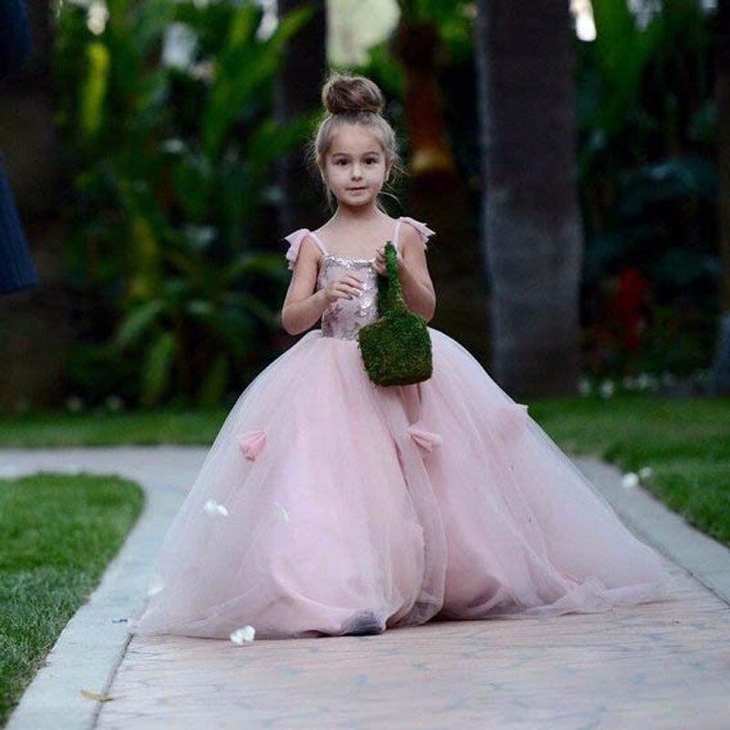 Robes de filles de fleur pour les mariages fleurs filles robe de bal première Communion robes de reconstitution historique fleurs rose clair robes de filles