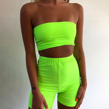 Fashion Womens Ladies Sleeveless Crop Top Strapless Tube Top Shorts Two Piece Se